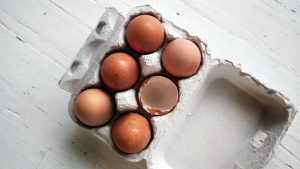 top view of eggs in a carton