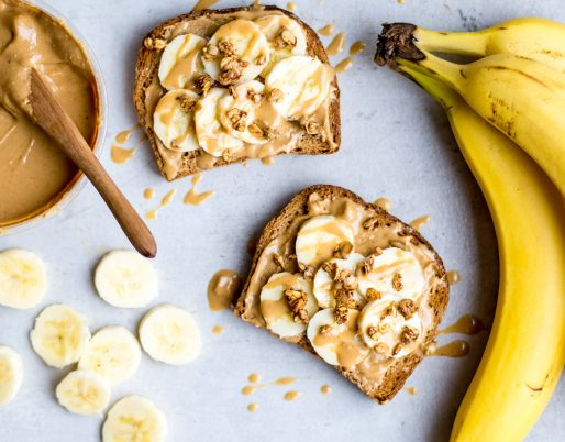 image of two toasts with bananas and peanut butter